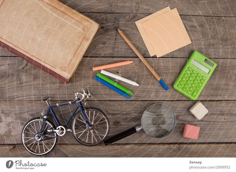 Back to school concept - school supplies on the wooden desk Colour Black School Group Above Infancy Vantage point Book Blackboard Chalk Side Pencil Accessory