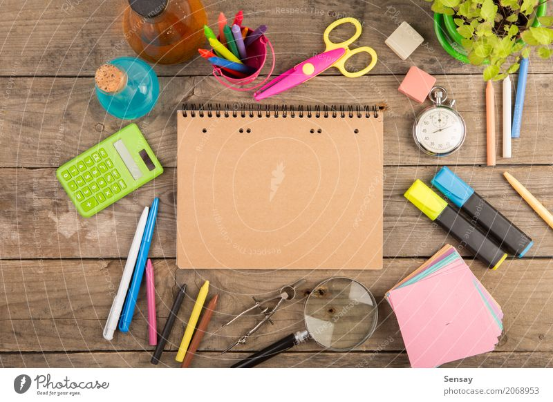 Back to school concept - school supplies on the wooden desk Colour Black School Group Above Clock Infancy Vantage point Book Observe Chalk Side Pencil Accessory