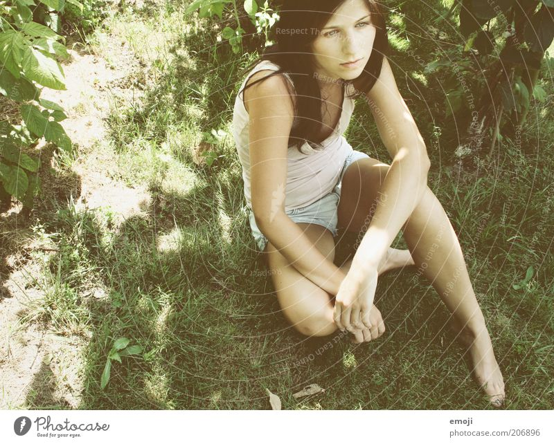 Human being Youth (Young adults) Summer Adults Meadow Feminine Grass Garden Spring Leisure and hobbies Sit Cool (slang) 18 - 30 years Meditative Young woman Brunette