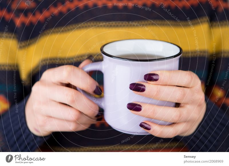 Woman in cozy sweater holding a cup Breakfast Beverage Coffee Tea Knit Winter Human being Adults Hand Warmth Sweater Hot White Hold drink Seasons girl christmas