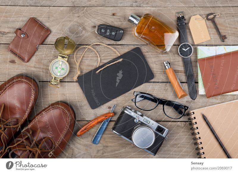 Adventure concept - camera, passport, map Vacation & Travel Man Old Black Adults Fashion Tourism Above Car Footwear Observe Things Camera Map Still Life Hero