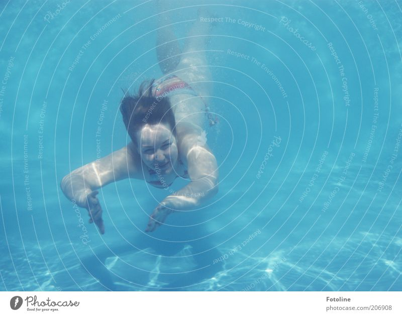 mermaid Joy Swimming & Bathing Summer Human being Feminine Young woman Youth (Young adults) Head Hair and hairstyles Arm Dive Bright Cold Wet Blue Colour photo