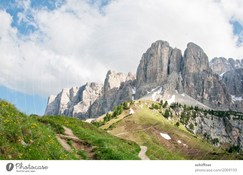 Passo Gardena Environment Nature Landscape Plant Clouds Tree Meadow Hill Rock Alps Mountain Peak Exceptional Bizarre Steep Lanes & trails Rock formation