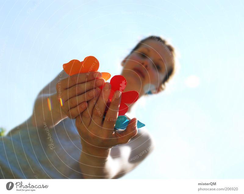 Feeling. Leisure and hobbies Esthetic Multicoloured Handicraft Creativity Woman Joie de vivre (Vitality) Selection Many Flower Indicate Wary Presentation Summer