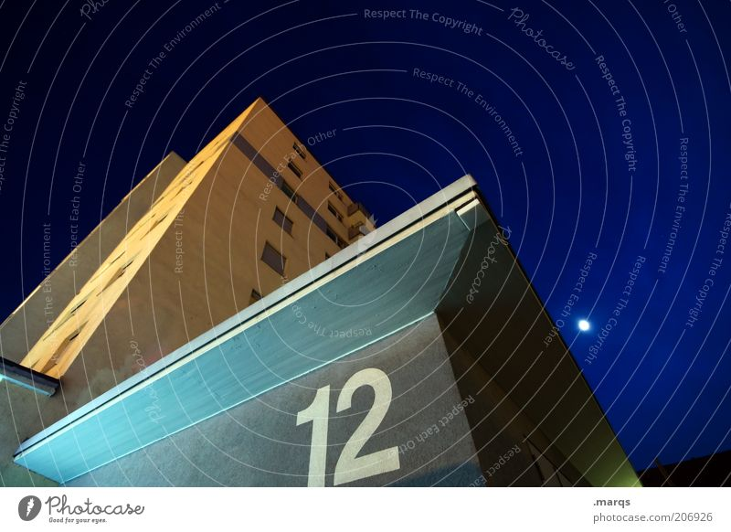 Dark Emotions Architecture Building Facade Tall High-rise Corner Digits and numbers Putrefy Manmade structures Upward Night sky Sharp-edged Moon