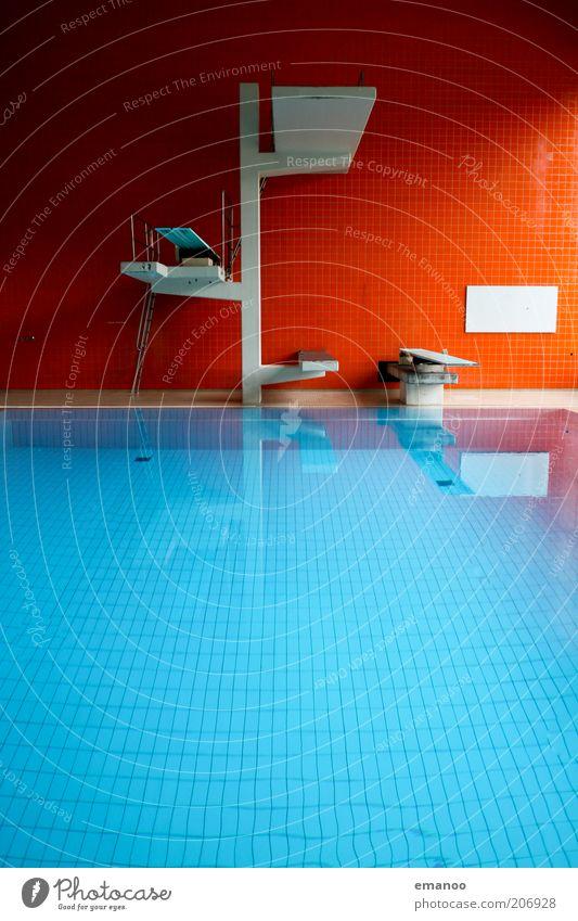 fin. Sports Aquatics Swimming pool Water Sharp-edged Blue Red Tower Springboard Pool border Colour photo Multicoloured Interior shot Pattern