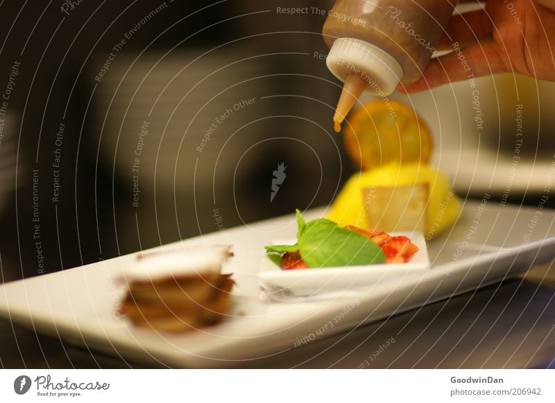 Everyday life III Food Dessert Candy Chocolate Ice cream Strawberry Mint Orange Crockery Plate Work and employment Profession Cook Workplace Authentic Fresh