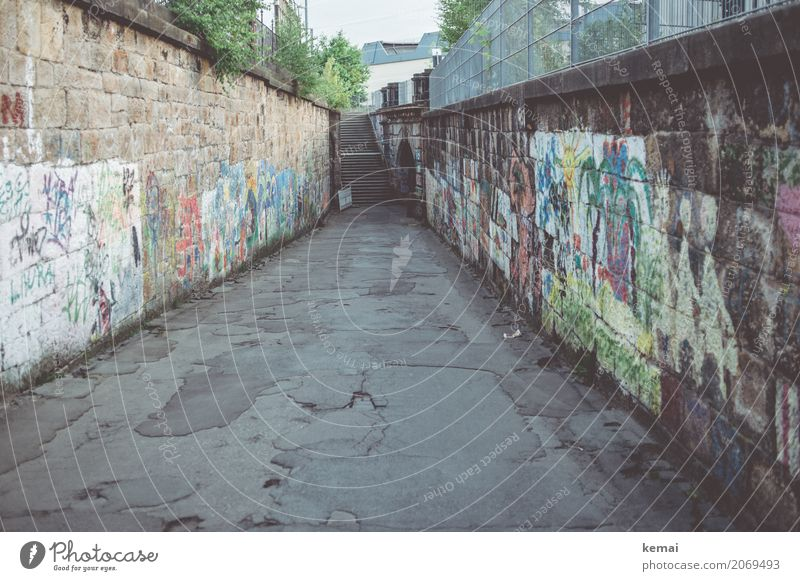 AST 10 | Paths in Chemnitz City trip Town Downtown Deserted Wall (barrier) Wall (building) Street Lanes & trails Asphalt Graffiti Old Authentic Dark Long Trashy