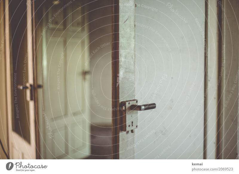 AST10 doors open to the city. Living or residing Flat (apartment) Room Ruin Building Door Old Dark White Calm Sadness Loneliness Dirty Open Door handle