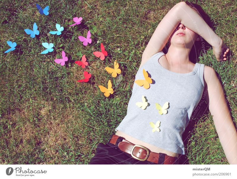 Woman Summer Love Meadow Emotions Freedom Happy Contentment Flying Esthetic T-shirt Lie Human being Multicoloured