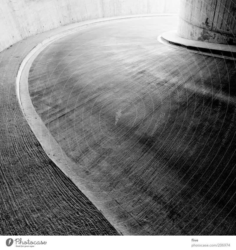 curve Parking garage Manmade structures Building Architecture Wall (barrier) Wall (building) Transport Street Cold Black White Curve Asphalt Concrete