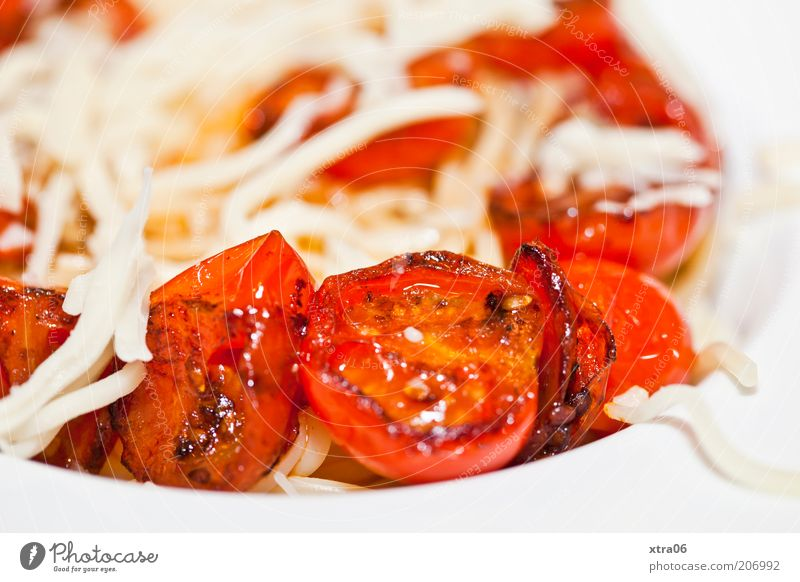 Nutrition Food Dish Delicious Appetite Plate Noodles Meal Tomato Cheese Vegetable Spaghetti Dairy Products Vegetarian diet Italian Food Pasta dish
