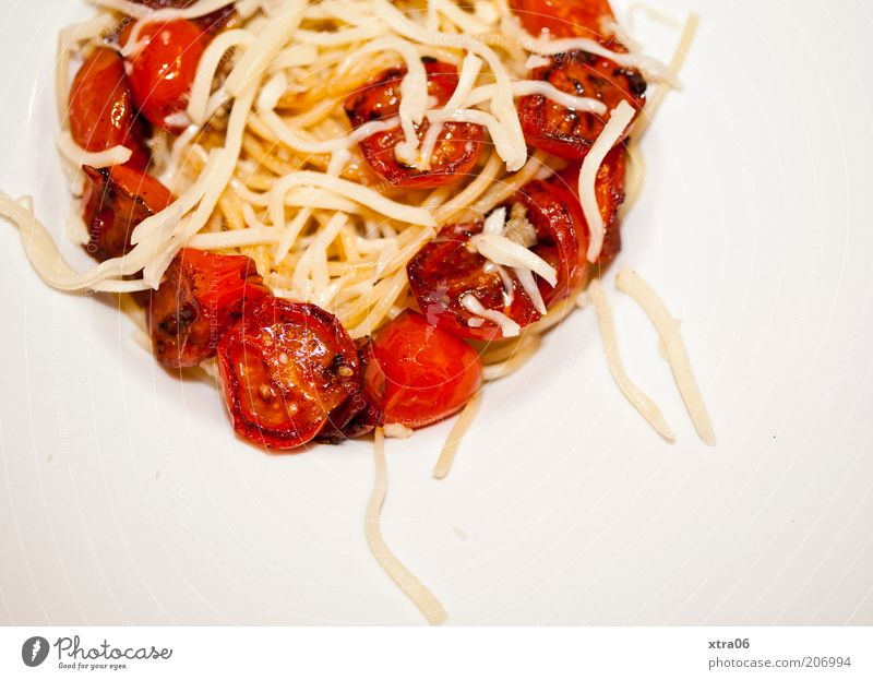 lookup Food Nutrition Delicious Tomato Noodles Spaghetti Cheese Appetite Colour photo Interior shot Copy Space bottom Meal Pasta dish Vegetarian diet