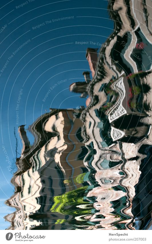 Water Blue House (Residential Structure) Movement Facade Esthetic Bizarre Chaos Mirror image Venice Italy Multicoloured Distorted Old town Europe Water reflection