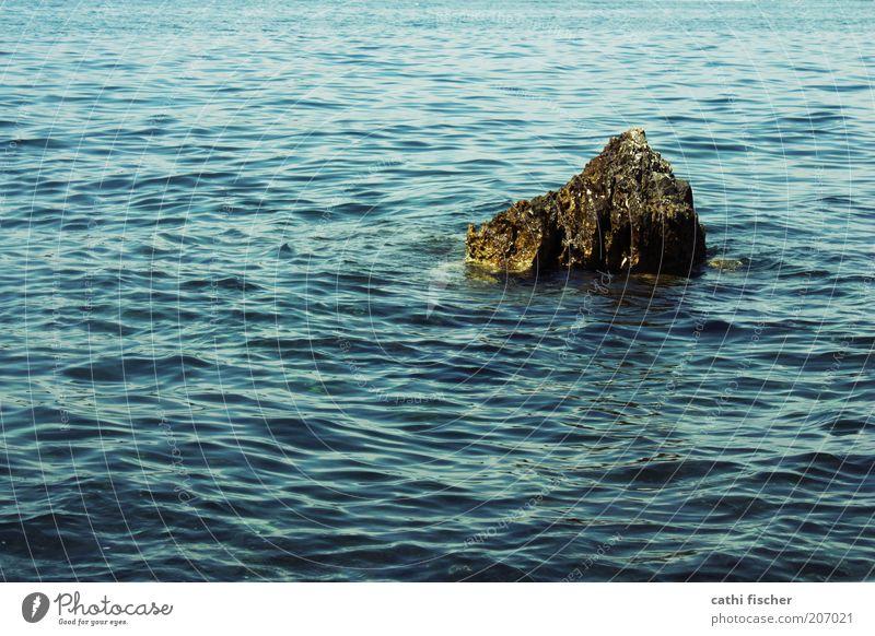 Water Ocean Blue Summer Loneliness Stone Contentment Brown Waves Wet Rock Island Beautiful weather Croatia Undulating Sea water