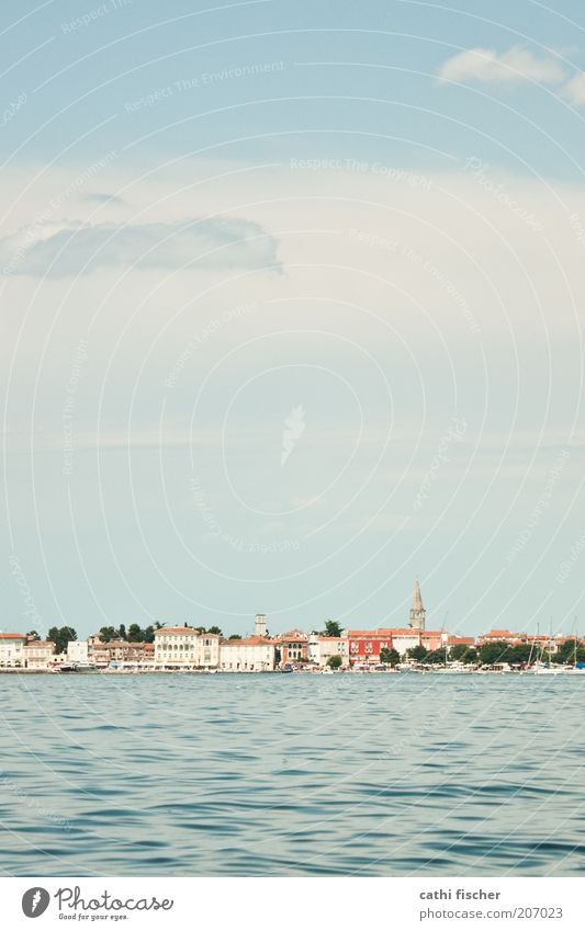 vacation Vacation & Travel Tourism Far-off places Sightseeing City trip Summer Summer vacation Ocean Island Waves Water Sky Clouds Beautiful weather Coast Porec
