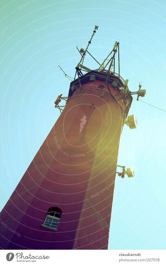Hela Tower Lighthouse Antenna Satellite dish Landmark Navigation Stone Tall Window Poland Vantage point Lookout tower Colour error Retro Colours Lens flare