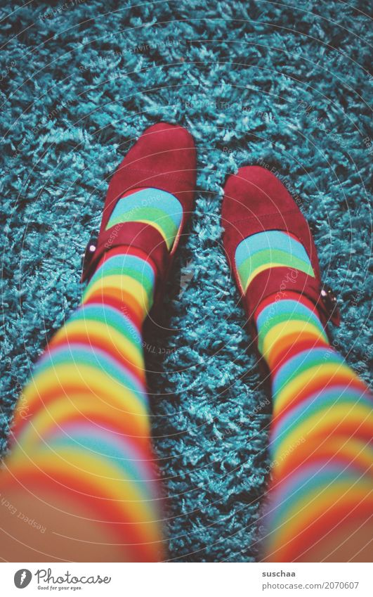 the red shoes Footwear Stockings Striped pantyhose Sock buckle shoes Carpet Legs Thin Crazy Exceptional color combination Strange Red Cyan Yellow Multicoloured