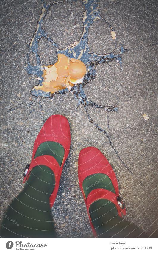 Red Street Legs Footwear Shopping Broken Asphalt Accident Fragile Raw High heels Egg Yolk Eggshell Fall down Swinishness