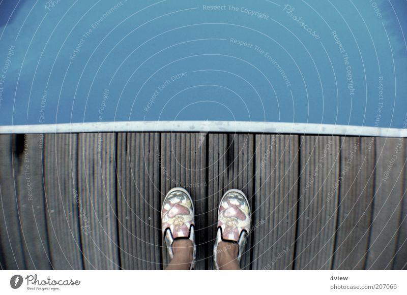 Human being Water Blue Summer Wood Feet Footwear Free Bridge Footbridge To enjoy Wooden board Summer vacation Surface of water Wooden floor Floor covering