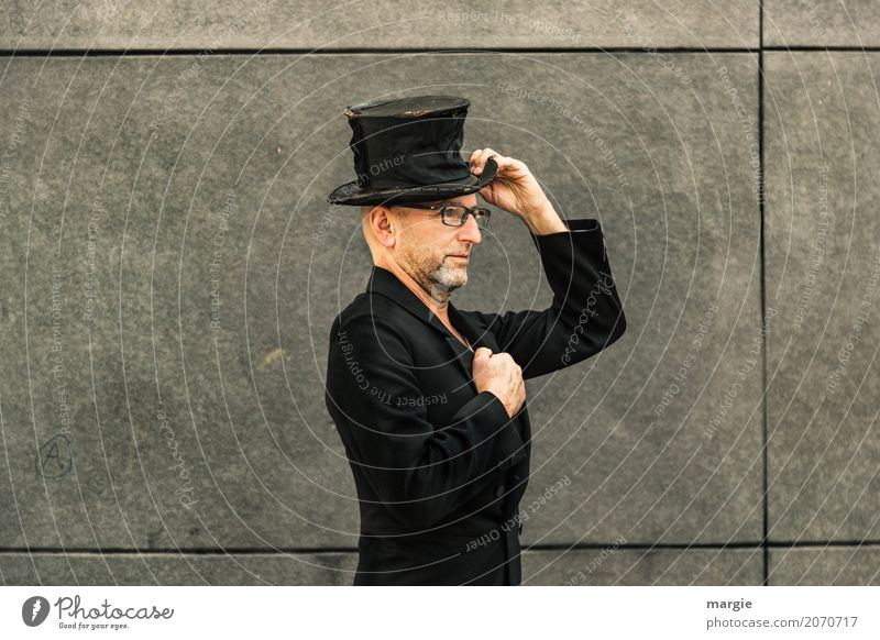 AST 10, please allow me my name is... Work and employment Human being Masculine Man Adults Fashion Clothing Workwear Coat Hat Gray Black Top hat Tails