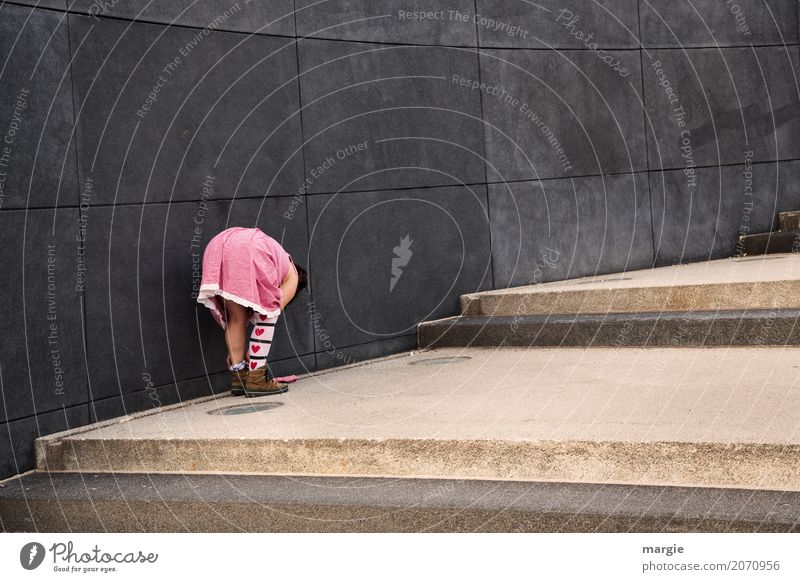 Human being Woman Youth (Young adults) Young woman Red Adults Wall (building) Love Feminine Gray Pink Stairs Footwear Heart Stockings Stoop