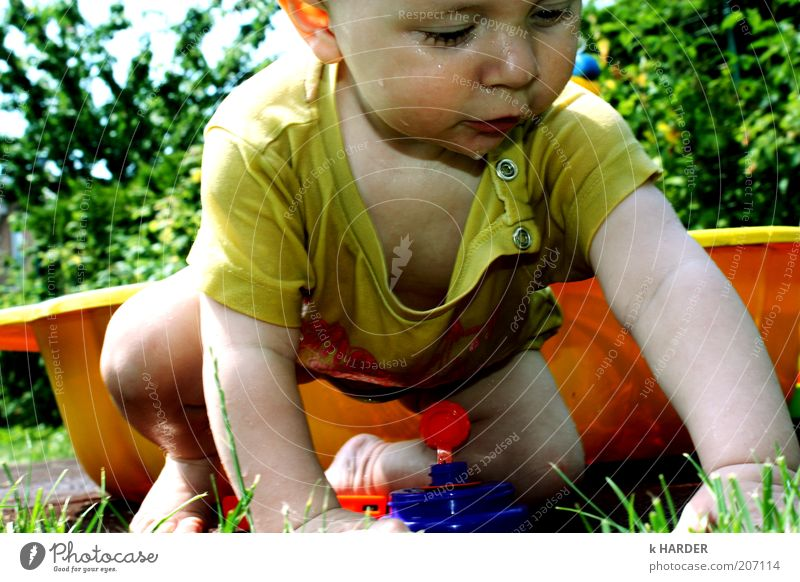Human being Nature Green Blue Joy Yellow Playing Garden Movement Happy Contentment Baby Power Wet Happiness T-shirt