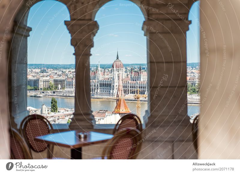 Coffee table with view Vacation & Travel Tourism Trip Sightseeing City trip Budapest Hungary Capital city Downtown Old town Palace Manmade structures