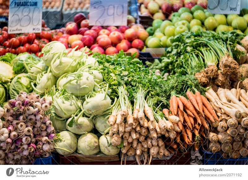 vegetable market Food Vegetable Lettuce Salad Nutrition Organic produce Vegetarian diet Diet Kohlrabi Carrot Rapes Onion Apple Colour photo Interior shot