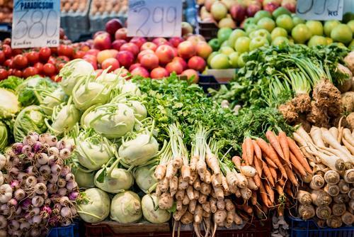 vegetable market Food Vegetable Lettuce Salad Nutrition Organic produce Vegetarian diet Diet Kohlrabi Carrot Rapes Onion Apple Colour photo Interior shot