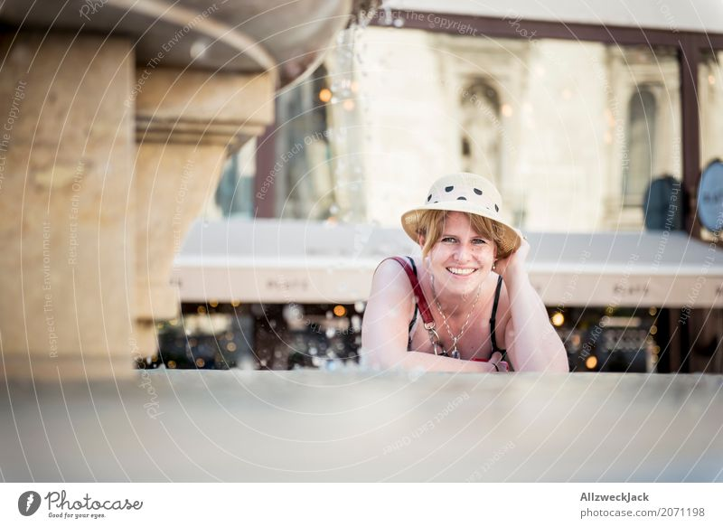 Portrait with hat at the fountain 2 Colour photo Exterior shot Day Portrait photograph Looking into the camera Vacation & Travel Sightseeing City trip Joy