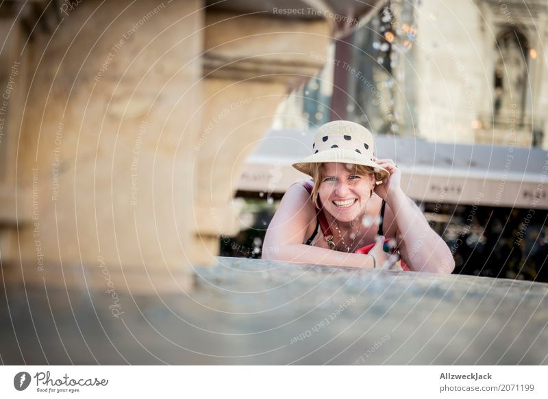 Portrait with hat at the fountain 1 Lifestyle Joy Vacation & Travel Tourism Trip Sightseeing City trip Feminine Young woman Youth (Young adults) Woman Adults