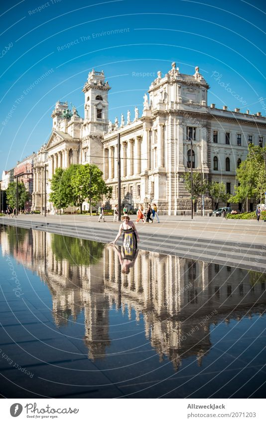 Ethnological Museum Budapest 2 Colour photo Exterior shot Day Reflection Long shot Vacation & Travel Tourism Trip Sightseeing City trip Summer vacation Hungary