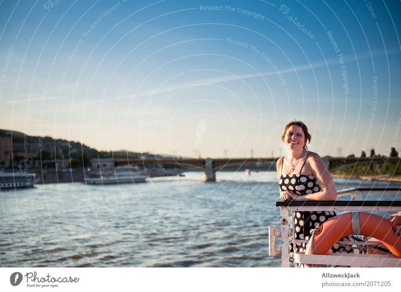 Woman with dress on a ship in the Danube Day 1 Person Young woman Dress Cloudless sky Budapest Watercraft Navigation Cruise Life belt Freedom titanic