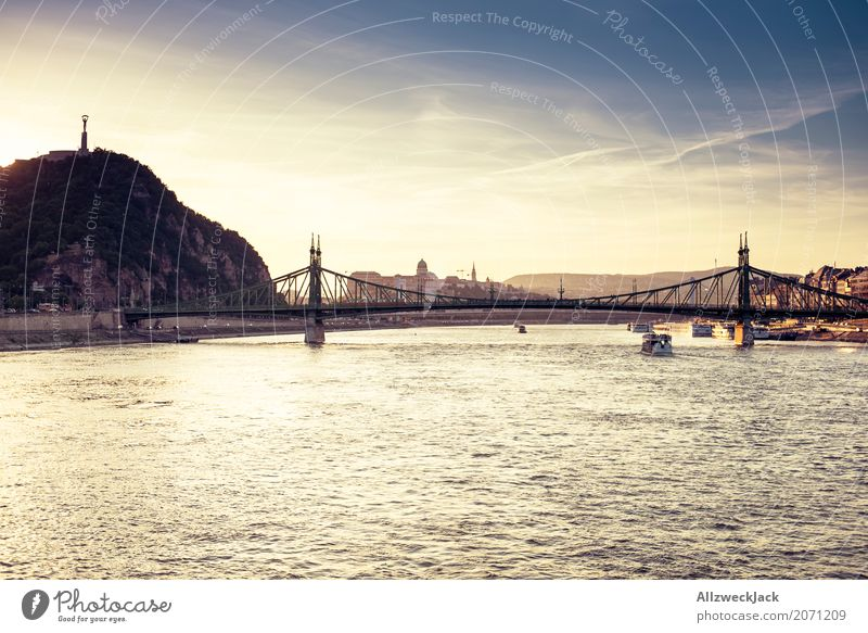 Sunset on the Danube 3 Colour photo Exterior shot Twilight Evening Day Sunlight Sunbeam Deserted Panorama (View) Vacation & Travel Tourism Trip Sightseeing