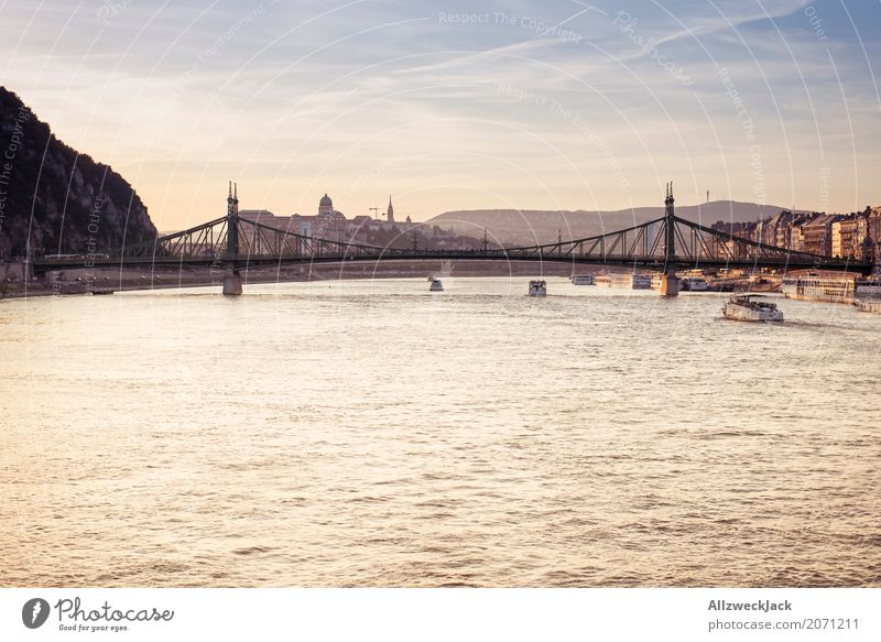 Sunset on the Danube 2 Colour photo Exterior shot Twilight Evening Day Sunlight Sunbeam Deserted Panorama (View) Vacation & Travel Tourism Trip Sightseeing