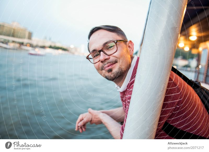 Vacation & Travel Man Relaxation Joy Tourism Watercraft Trip To enjoy River Tourist Attraction Old town Downtown City trip Navigation Sightseeing Grimace