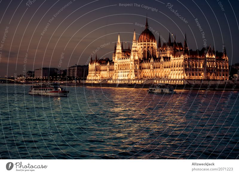 The Golden Parliament Budapest Hungary Danube Water River Watercraft Navigation Trip Inland navigation Sunset Evening Lighting Illuminate Deserted
