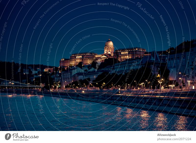 Budapest @ night 6 Colour photo Exterior shot Night Long shot Long exposure Deserted Panorama (View) Copy Space left Vacation & Travel Tourism Trip Night life