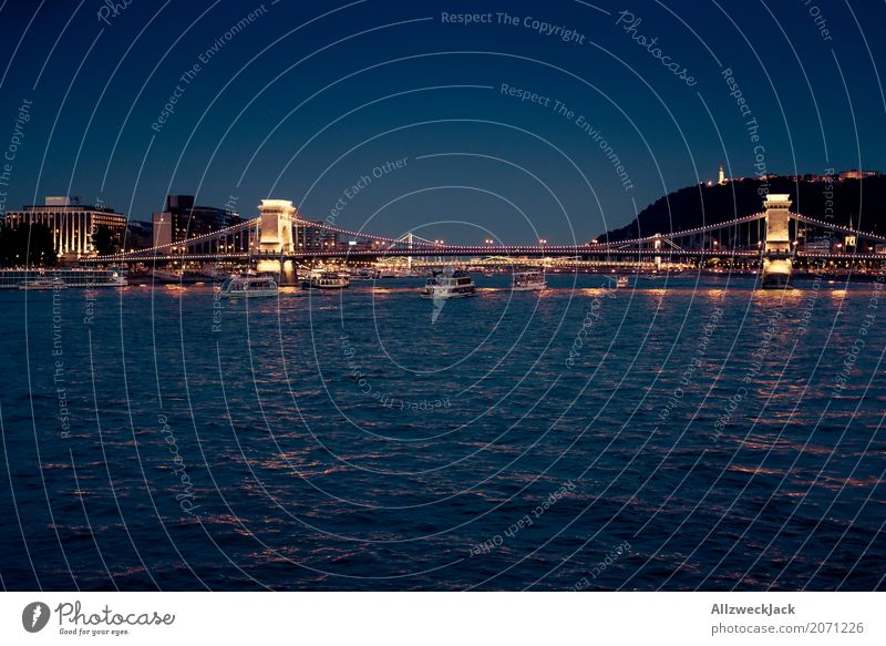 Budapest @ night 5 Colour photo Exterior shot Night Long shot Long exposure Deserted Panorama (View) Copy Space left Vacation & Travel Tourism Trip Night life