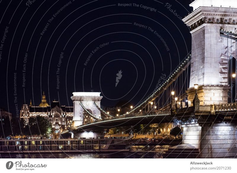 Budapest Chain Bridge illuminated at night Europe Hungary Danube Night shot Deserted Lighting Suspension bridge Landmark Tourist Attraction Artificial light