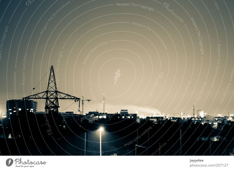 Linz by Night Advancement Future Industry Town Skyline Industrial plant Innovative Colour photo Exterior shot Deserted Copy Space top Silhouette Long exposure