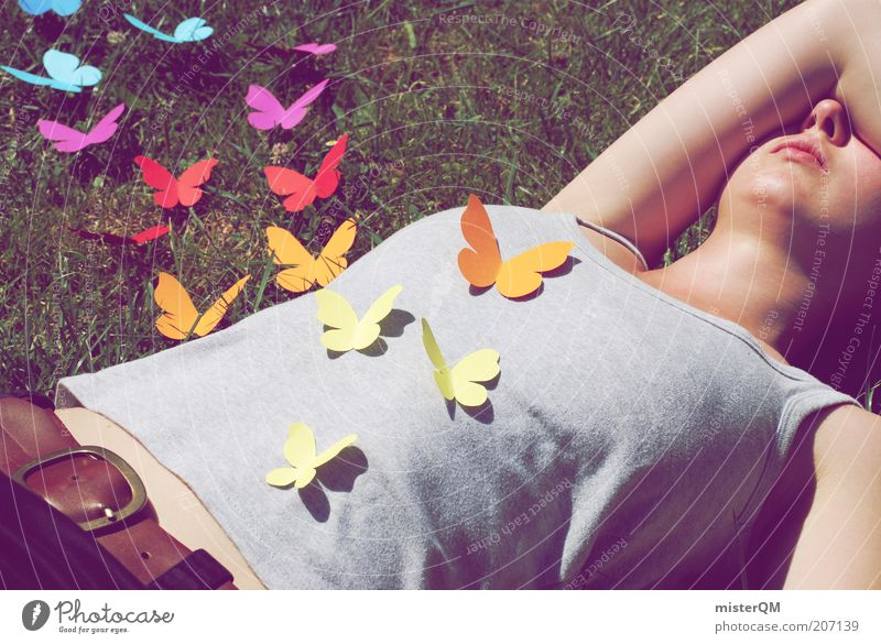Woman Youth (Young adults) Summer Love Life Meadow Freedom Emotions Grass Flying Lie Esthetic T-shirt Lawn Creativity