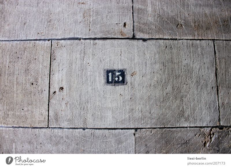 Old House (Residential Structure) Cold Wall (building) Gray Stone Signs and labeling Concrete Facade Digits and numbers Sign Stagnating Center point 15 Stone slab House number