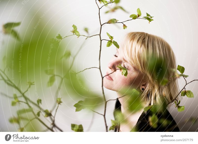 Human being Nature Youth (Young adults) Beautiful Plant Leaf Calm Face Adults Relaxation Spring Dream Time Healthy Contentment Lifestyle