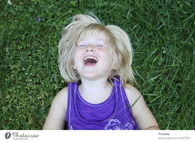 Human being Child Green Summer Girl Joy Face Life Meadow Grass Happy Freedom Laughter Healthy Lie Leisure and hobbies