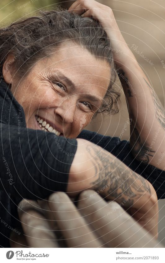 portrait of a tattooed youth - laughter lines & freckles Joy Happy Human being Young woman Youth (Young adults) Woman Adults Life Face Arm 1 Tattoo Smiling