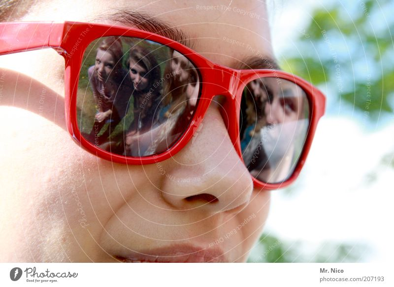 five Beautiful Feminine Youth (Young adults) Nose 5 Human being Sunglasses Red Friendship Looking Multiple Reflection Summer Portrait photograph Brash Skin