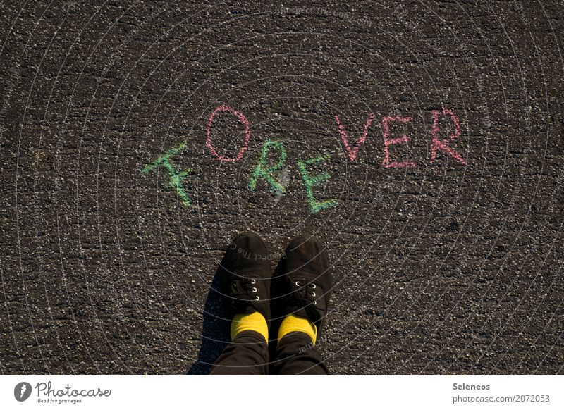 weekend forever Human being Feet 1 Footwear Sign Characters Signs and labeling Signage Warning sign Long Emotions Moody Joie de vivre (Vitality) Optimism