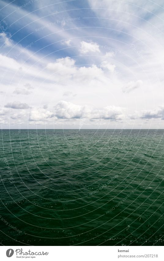 Baltic Environment Nature Water Sky Clouds Sunlight Summer Climate Beautiful weather Warmth Baltic Sea Ocean Surface of water Sea water Blue Green White Horizon